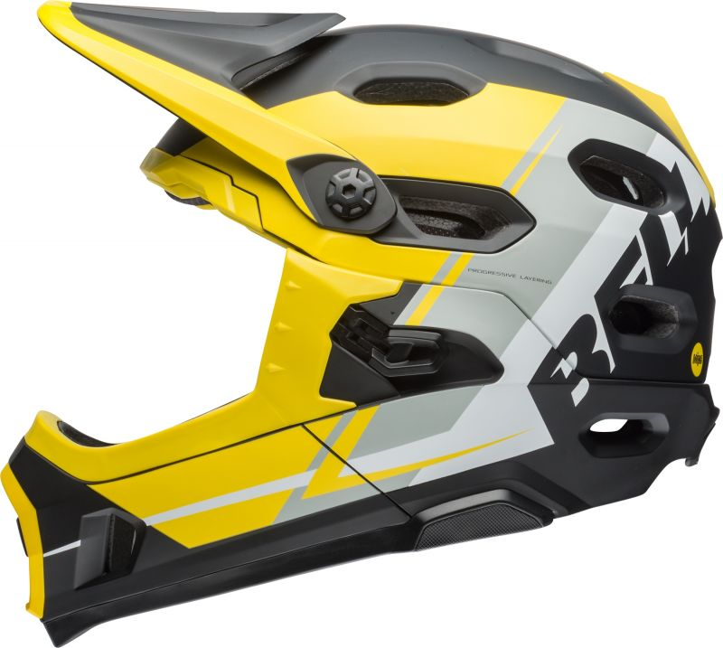 casque vtt bmx bell super dh mips mentonni re amovible jaune argent noir sur ultime bike. Black Bedroom Furniture Sets. Home Design Ideas