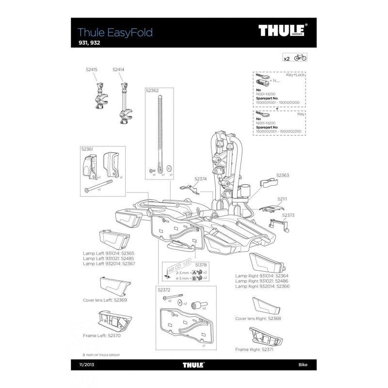 Bras de fixation long 2e vélo Thule 931 et EasyFold - 1