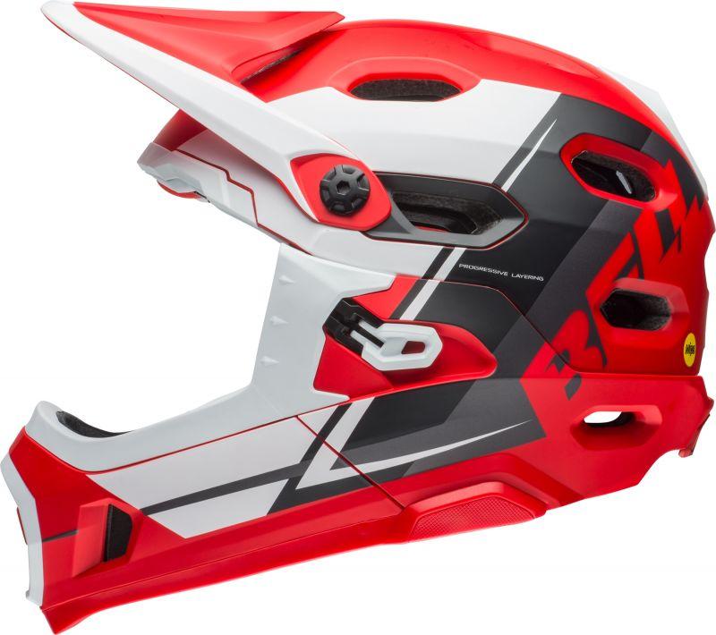 Casque Bell Super DH MIPS à mentonnière amovible Rouge/Blanc/Noir