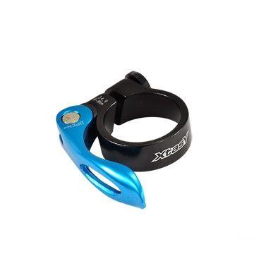 Collier de tige de selle 31,8 mm Alu 6061 + Serrage rapide Noir/Bleu
