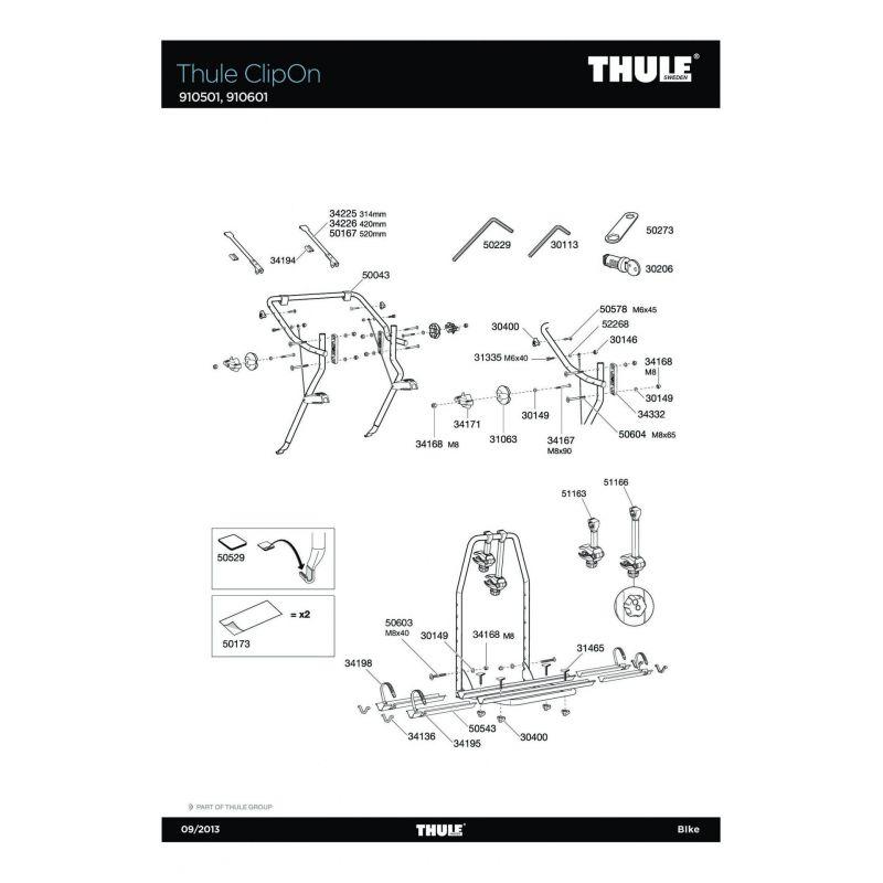 Bras de fixation court 1er vélo Thule EuroWay 944/946 - 4