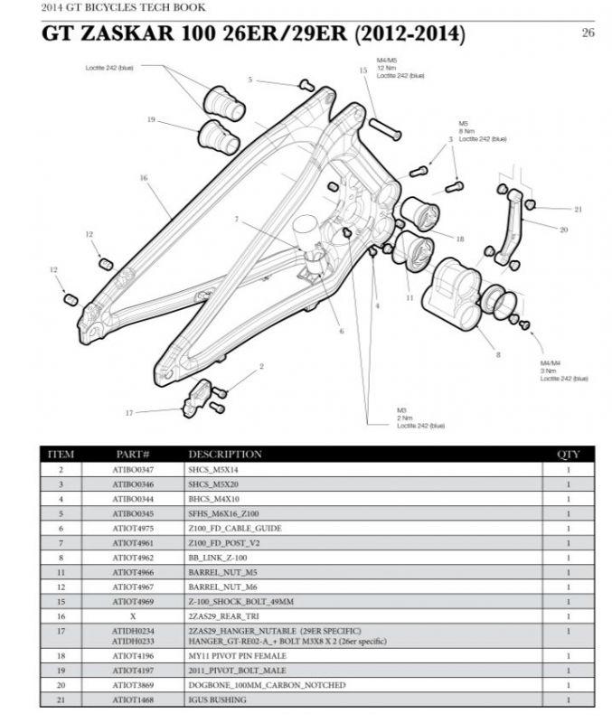 Axe de pivot (Femelle) GT Force Carbon / Zaskar 100 - 1