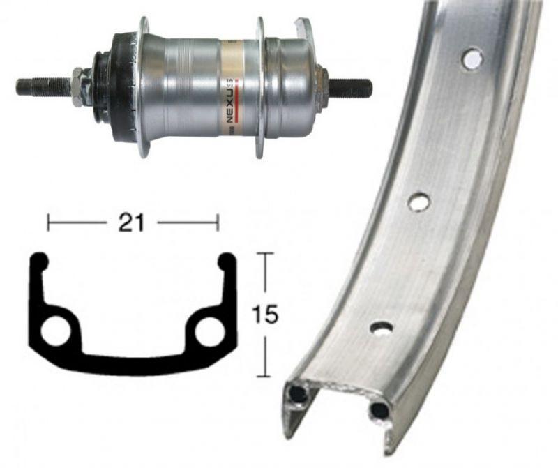 Roue arrière Shimano 26x1.9 à 3 vitesses 36 Trous argent