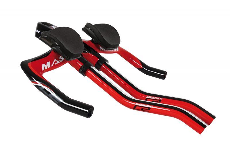 Cintre + prolongateurs TT/Tri Massi Crossbow 2 carbone 3K Rouge