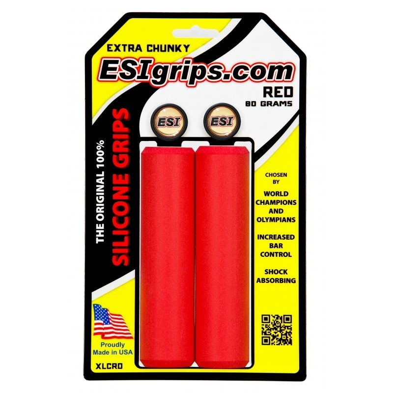 Poignées ESI Grips Extra Chunky silicone 34 mm Rouge