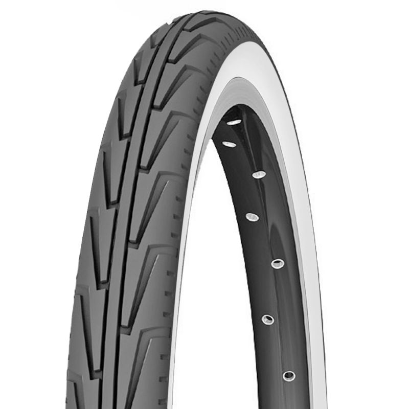 "Pneu Michelin City J. 24 x 1.3/8"" Noir/Flancs blancs"