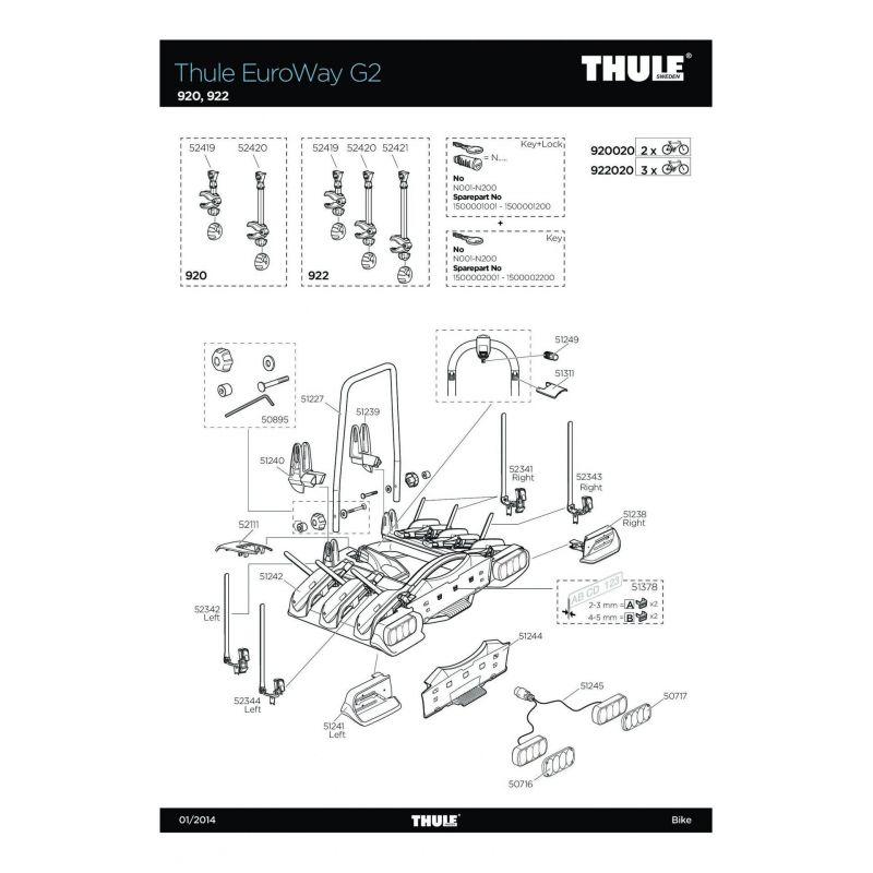Bras de fixation court 1er vélo Thule 920/922 et Euroway G2 921/923 - 1