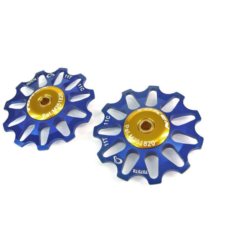 Galets de dérailleur Token 11 dents comp. Shimano/Campagnolo/SRAM XO roulements céramique Bleu