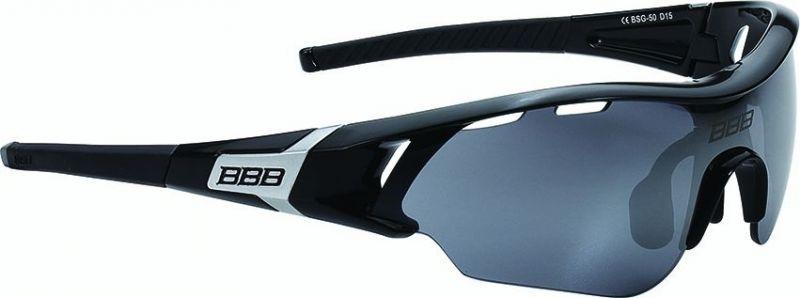 Lunettes BBB Summit Noir brillant, logo argent, verres fumés 5001 - BSG-50