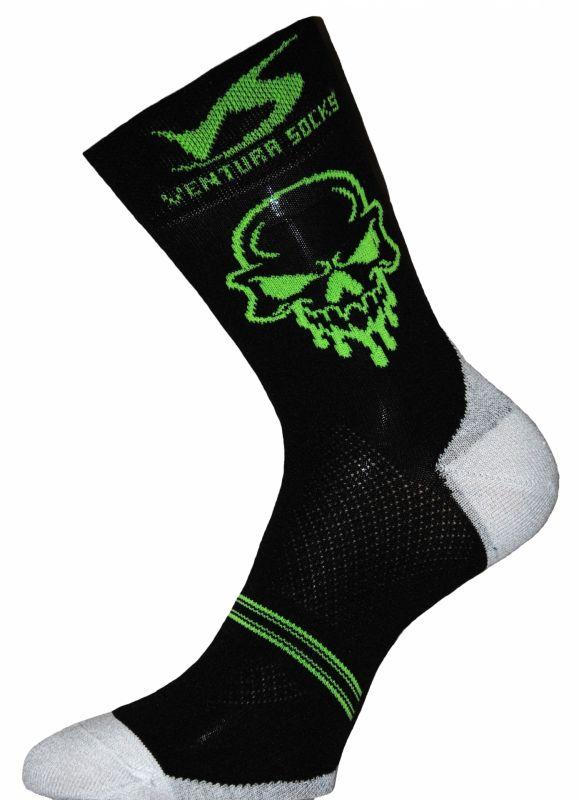 Chaussettes Ventura Socks Carbone Tête de mort Noir/Vert