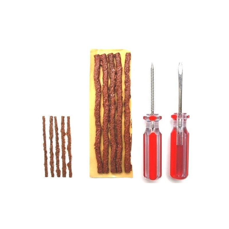 Kit réparation tubeless MAXALAMI de 10 mèches (5 grandes + 5 petites) et 2 outils