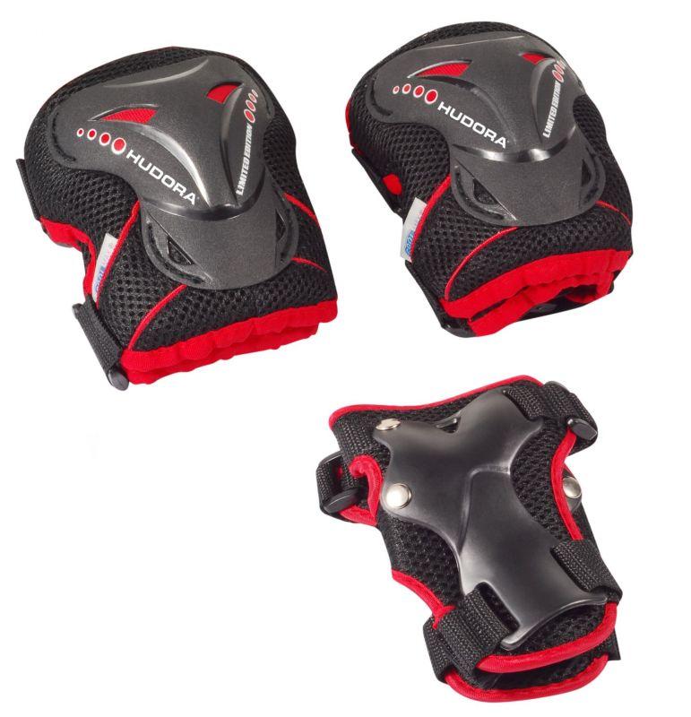 Set protections Hudora p.trottinette/rollers Noir/Rouge