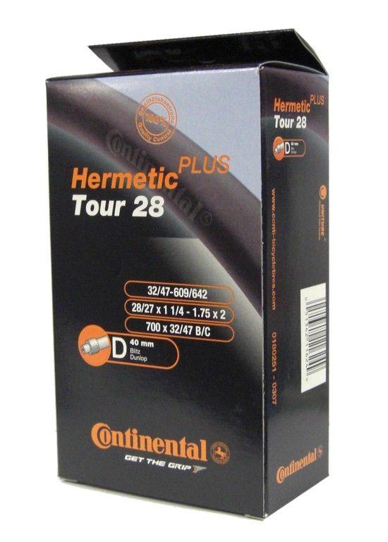 Chambre à air Continental Tour Hermetic Plus 27/28 x 1.1/4-1.75 valve Dunlop 40 mm