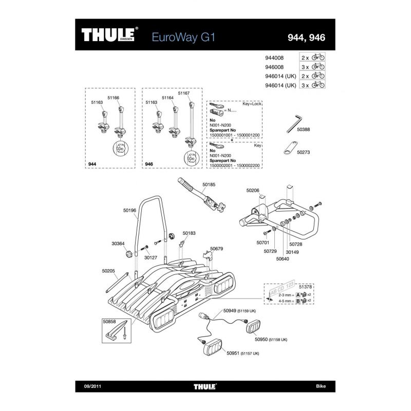 Bras de fixation court 1er vélo Thule EuroWay 944/946 - 2