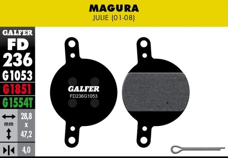 Plaquettes de frein Galfer Magura Julie Semi-métallique Advanced Rouge