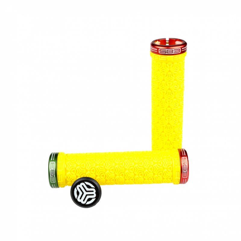 Poignées lock-on SB3 Logo Grip Jaune/Vert/Rouge