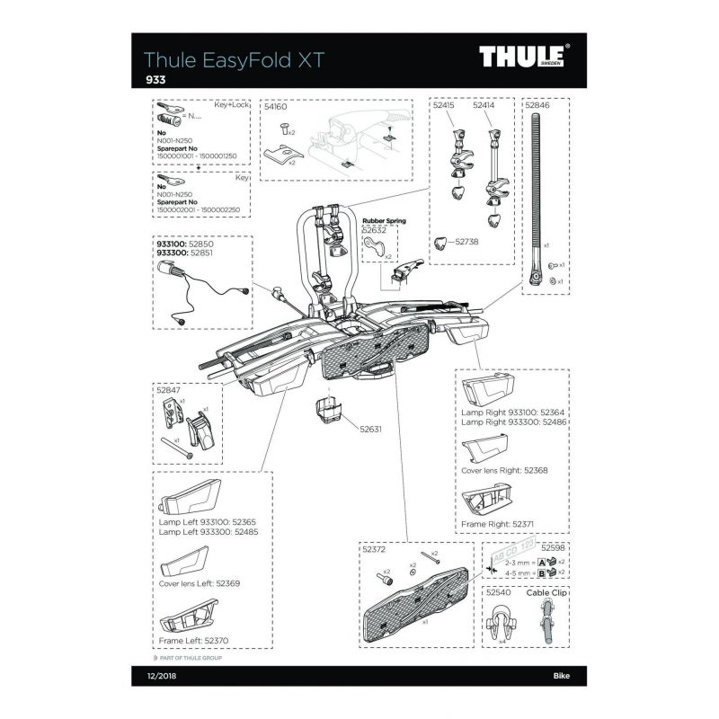 Bras de fixation long 2e vélo Thule 931 et EasyFold - 2