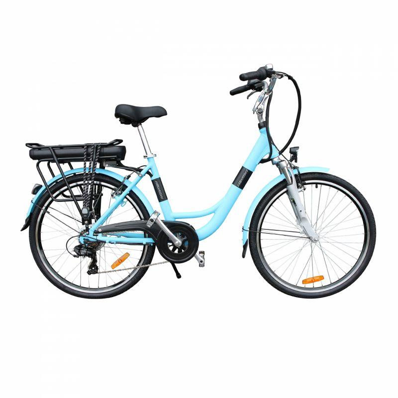 """Vélo électrique ville Newton Alu 26"""" Mixte 6V 36V/468 Wh Bleu"""