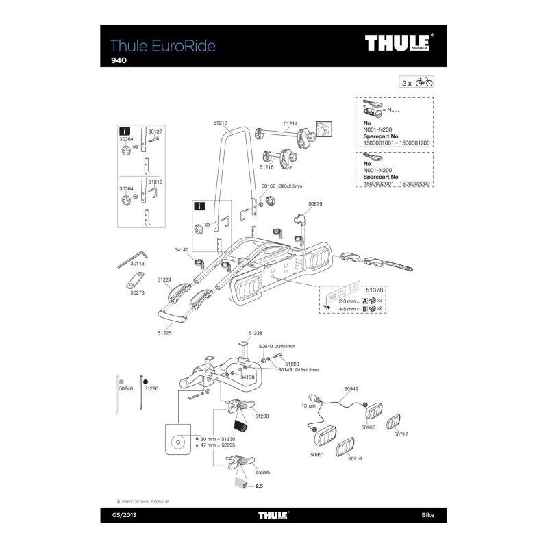 Support de roue Thule 940,943 - 51224