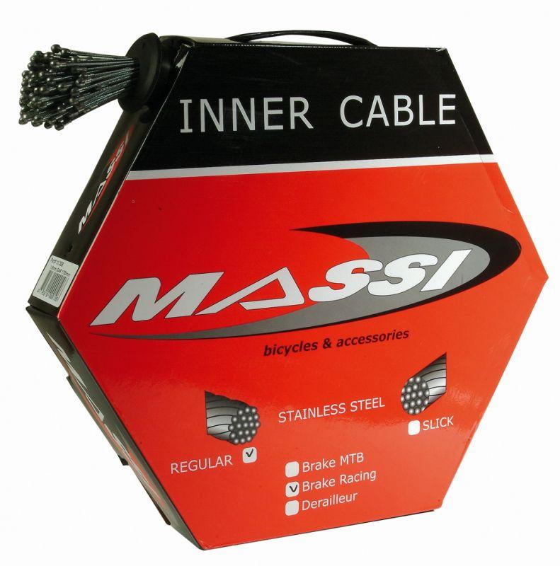 Boîte de 100 câbles de frein Massi pour vélo de route 1,5x1700 mm