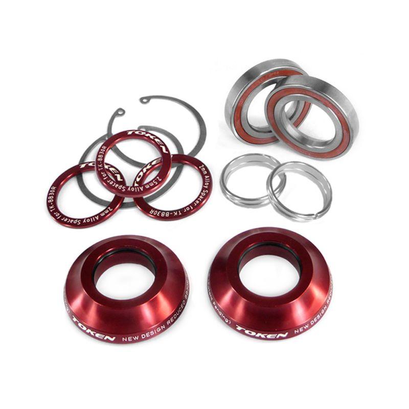 Adaptateur Token BB30R kit réducteur pour axe pédalier 24 mm Rouge