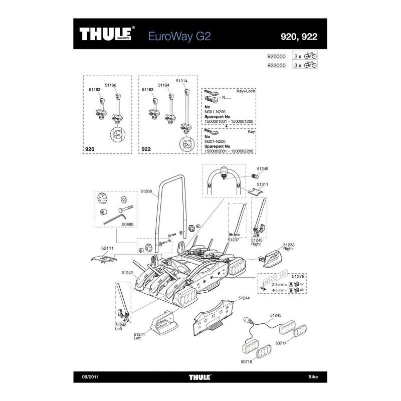 Bras de fixation moyen 2e vélo Thule EuroWay 923/946/947 - 1