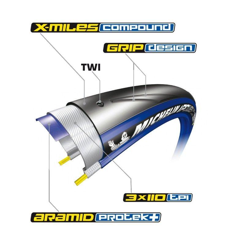 Pneu Michelin Power Endurance 700 x 25C TS Bleu - 1