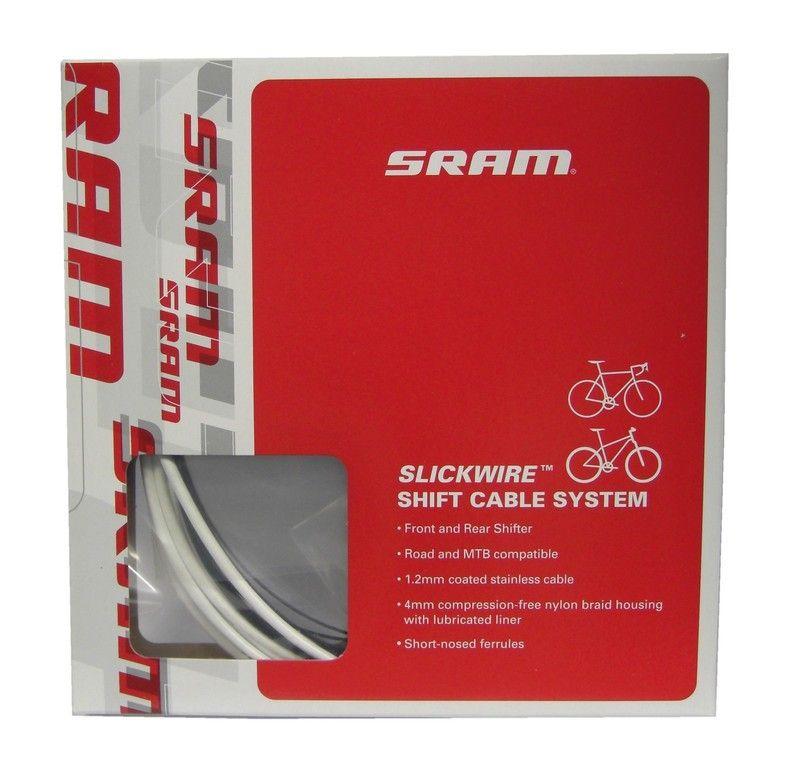 Kit SRAM Slick Wire câble et gaine de dérailleur Road+VTT 1,2 mm Blanc