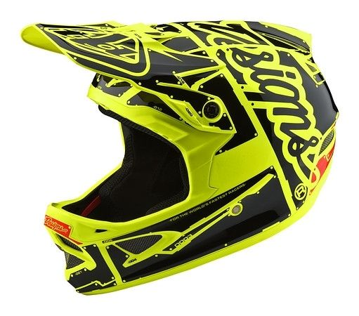Casque Troy Lee Designs D3 Fiberlite Factory Flo Jaune