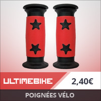 Poignées vélo enfant plastique dia. 22 mm Rouge/Étoiles noires