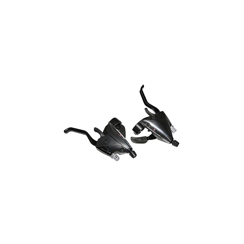 Levier-manette Saiguan Azera 3x7V comp. Shimano Alu pour frein V-Brake (Paire) Noir