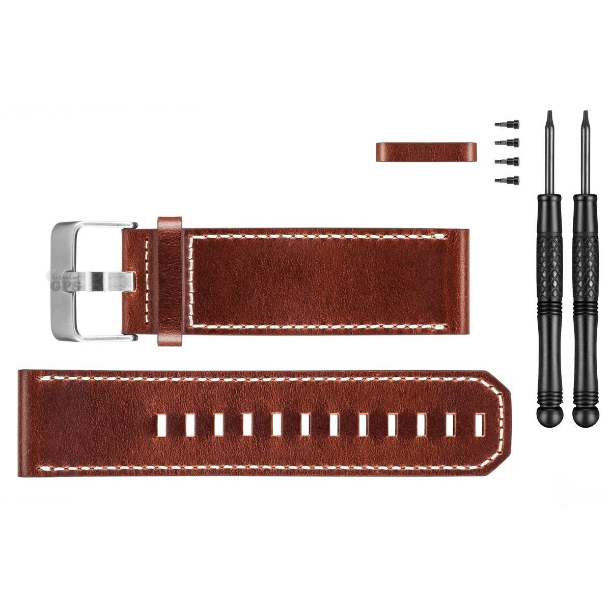 Bracelet Garmin Bravo et Fenix3 cuir Marron
