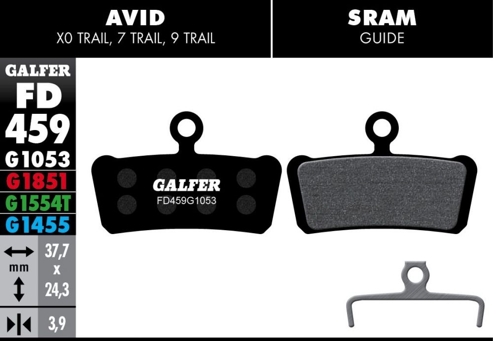 Plaquettes de frein Galfer Avid/SRAM Trail et Guide Semi-métallique Road Noir