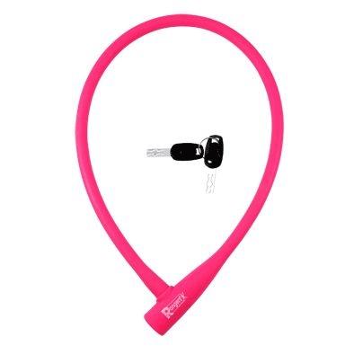 Antivol Rangers Câble à Clé D.12 x 0.75 m 100 % Silicone Rose