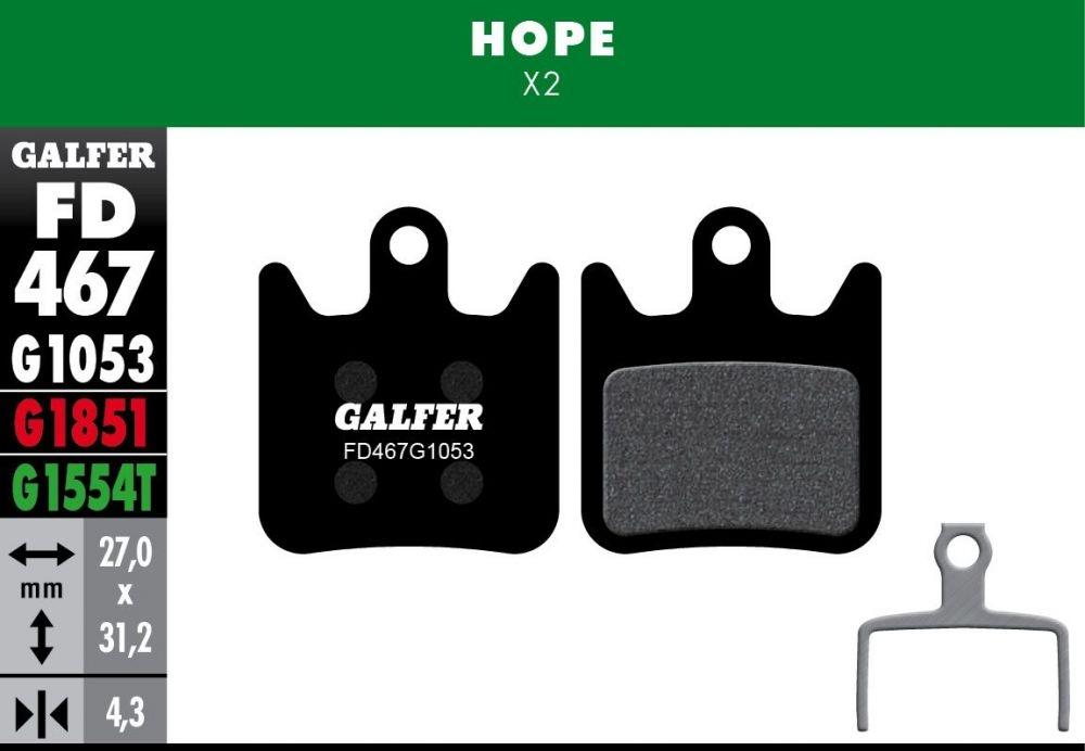 Plaquettes de frein Galfer Hope X2 Semi-métallique Advanced Rouge