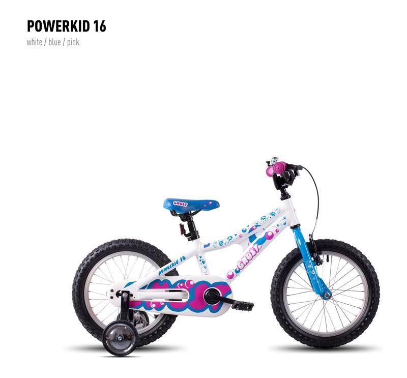 Vélo enfant Ghost Powerkid 16 Blanc/Bleu/Rose