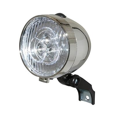Éclairage AV Rétro LED Sur fourche À piles Chrome