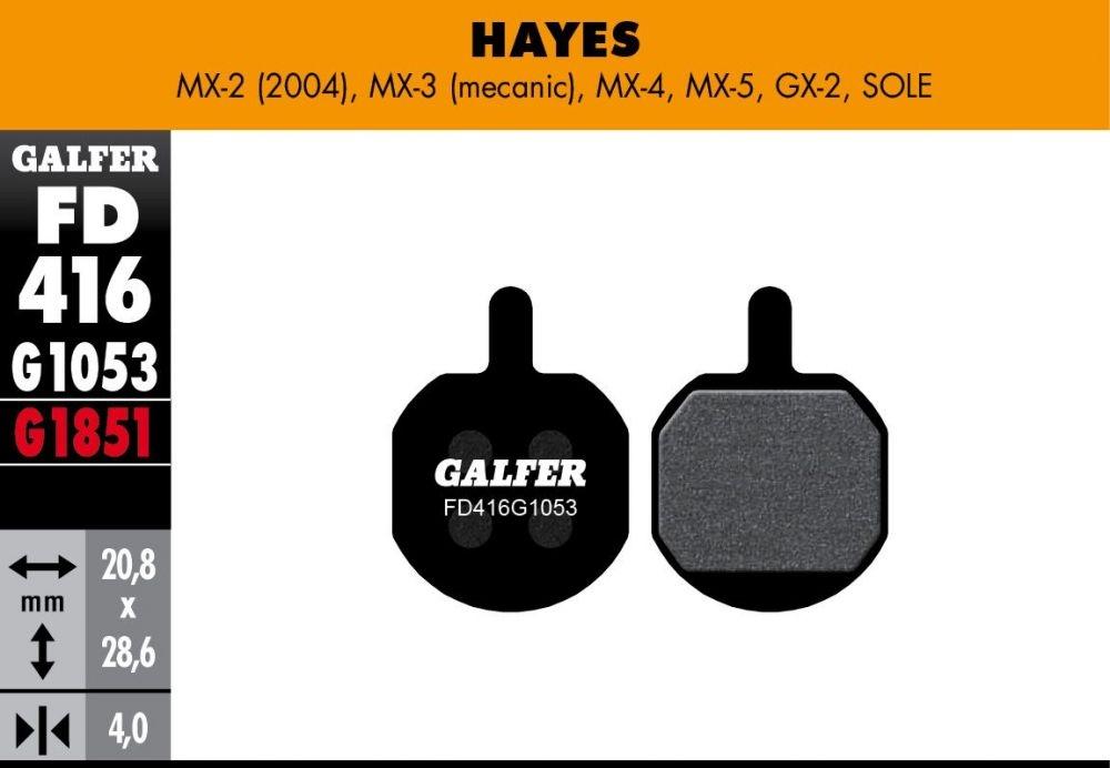 Plaquettes de frein Galfer Hayes MX Sole Semi-métallique Standard Noir