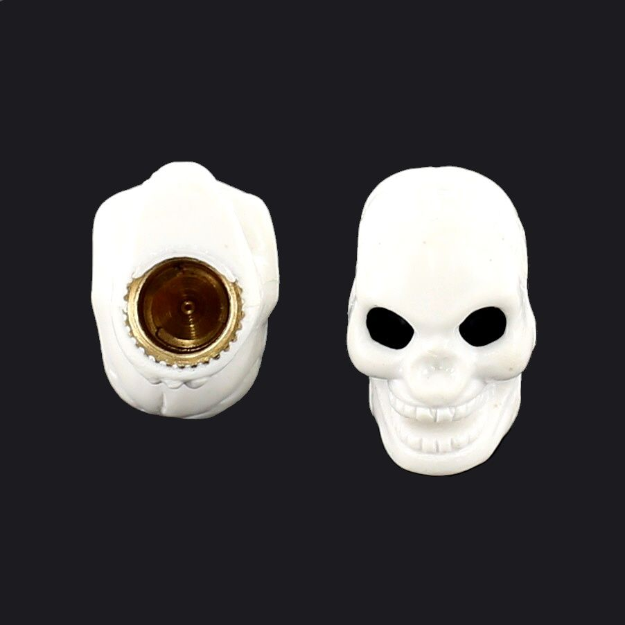 Bouchon de valve TrickTopz Tête de mort Blanche (x2)