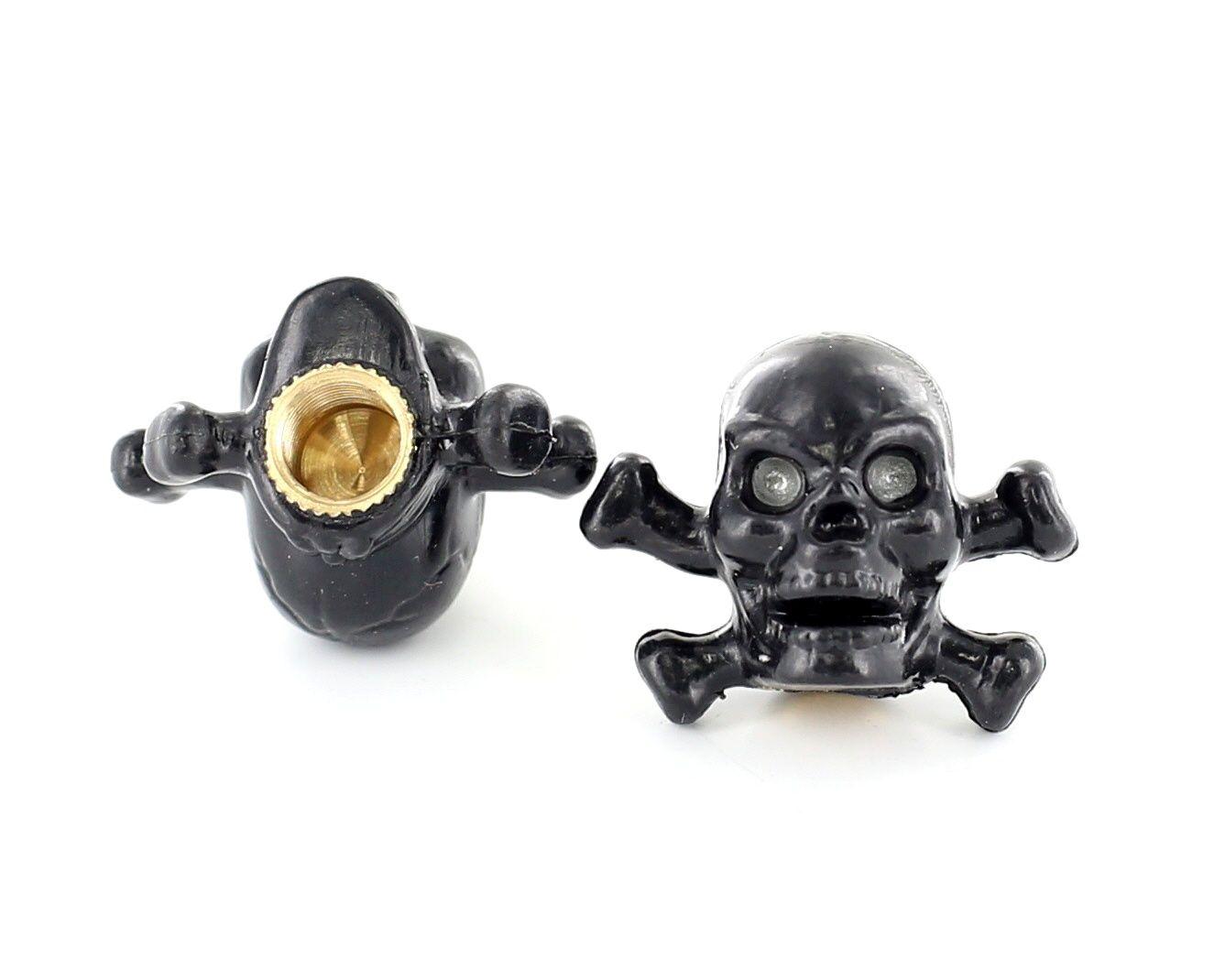 Bouchon de valve TrickTopz Tête de mort et Os Noirs (x2)