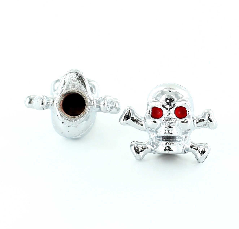 Bouchon de valve TrickTopz Tête de mort et Os Chromés (x2)