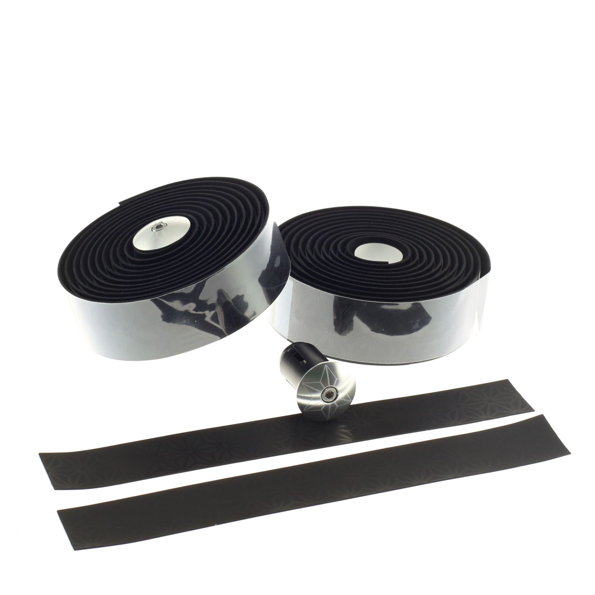 Ruban de cintre Supacaz Super Sticky Kush Tape Noir/Bouchons Argent