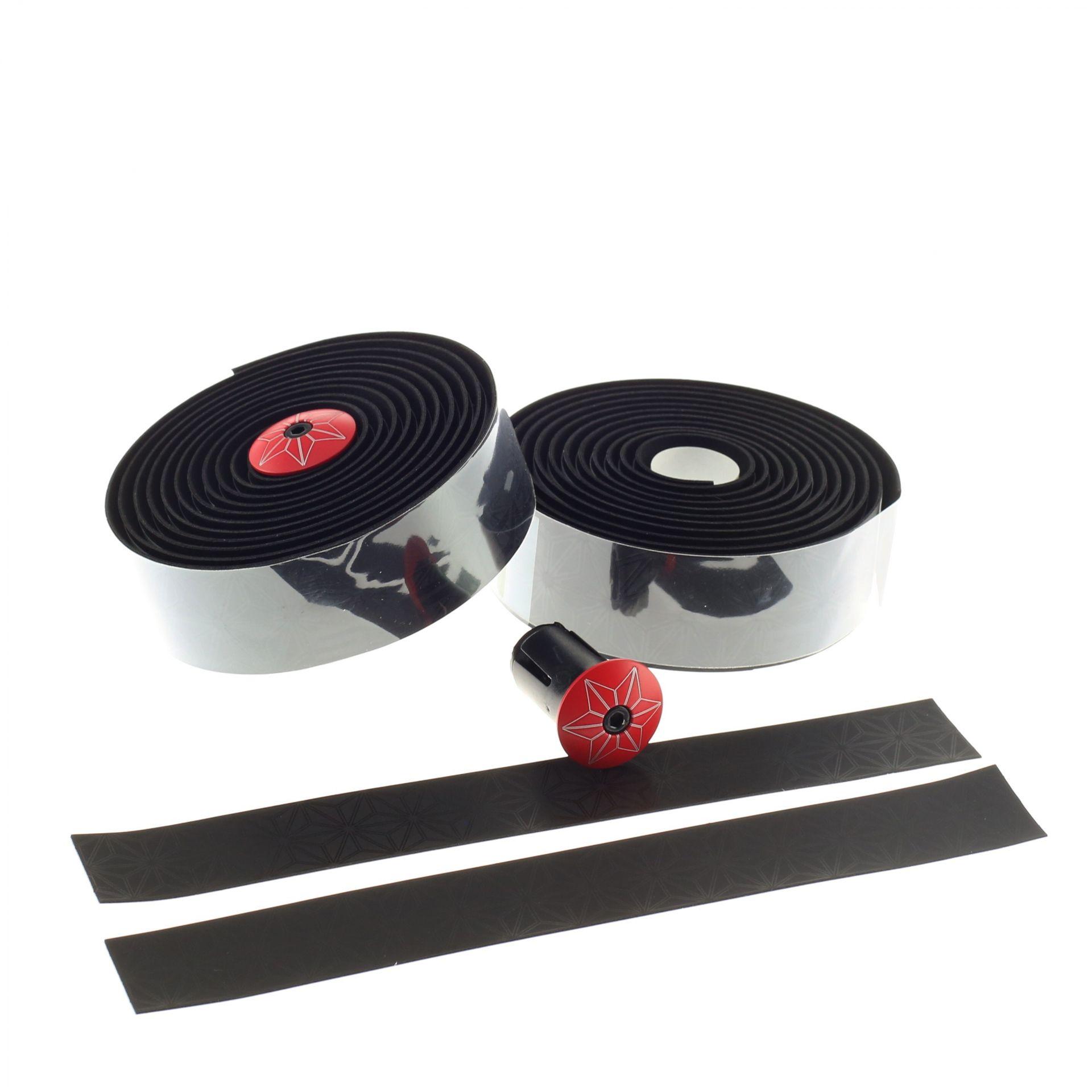 Ruban de cintre Supacaz Super Sticky Kush Tape Noir/Bouchons Rouge
