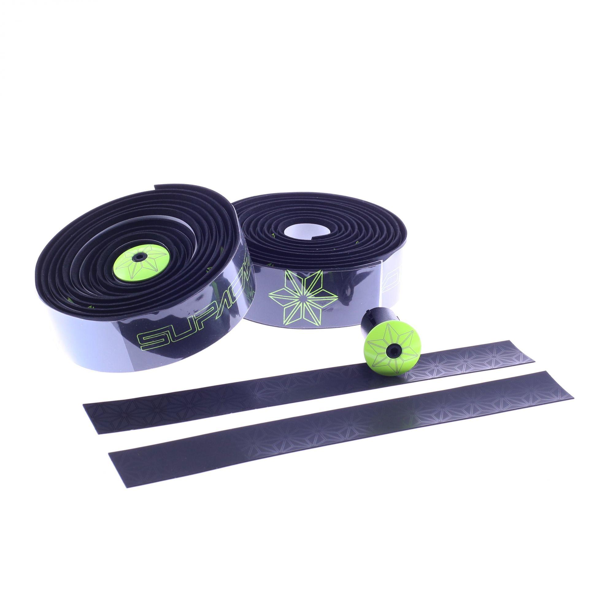 Ruban de cintre Supacaz Super Sticky Kush Tape Noir/Imprimé Jaune Fluo