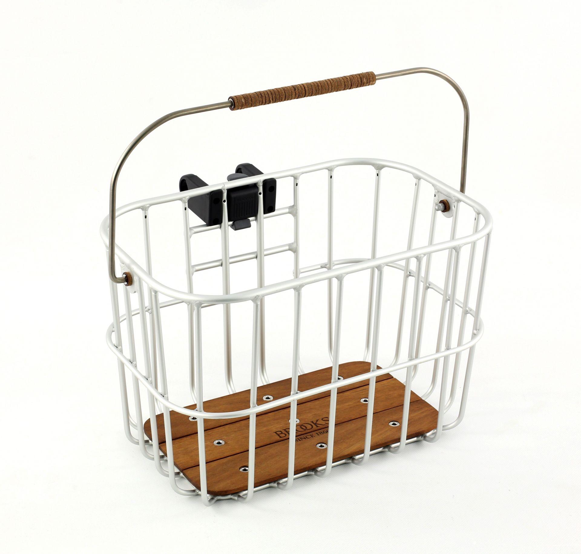 Panier métal et bois Brooks Hoxton Wire Basket 25 L + KLICKfix Argent