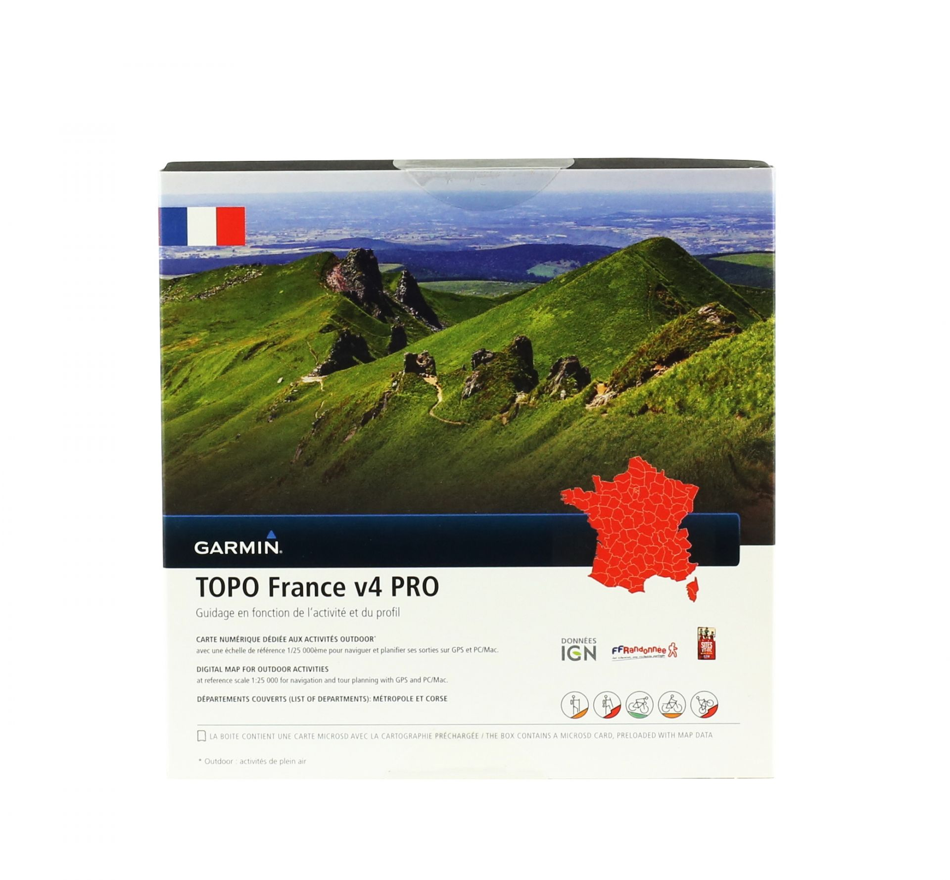 Cartographie Garmin IGN Topo France v4 Pro (France entière)