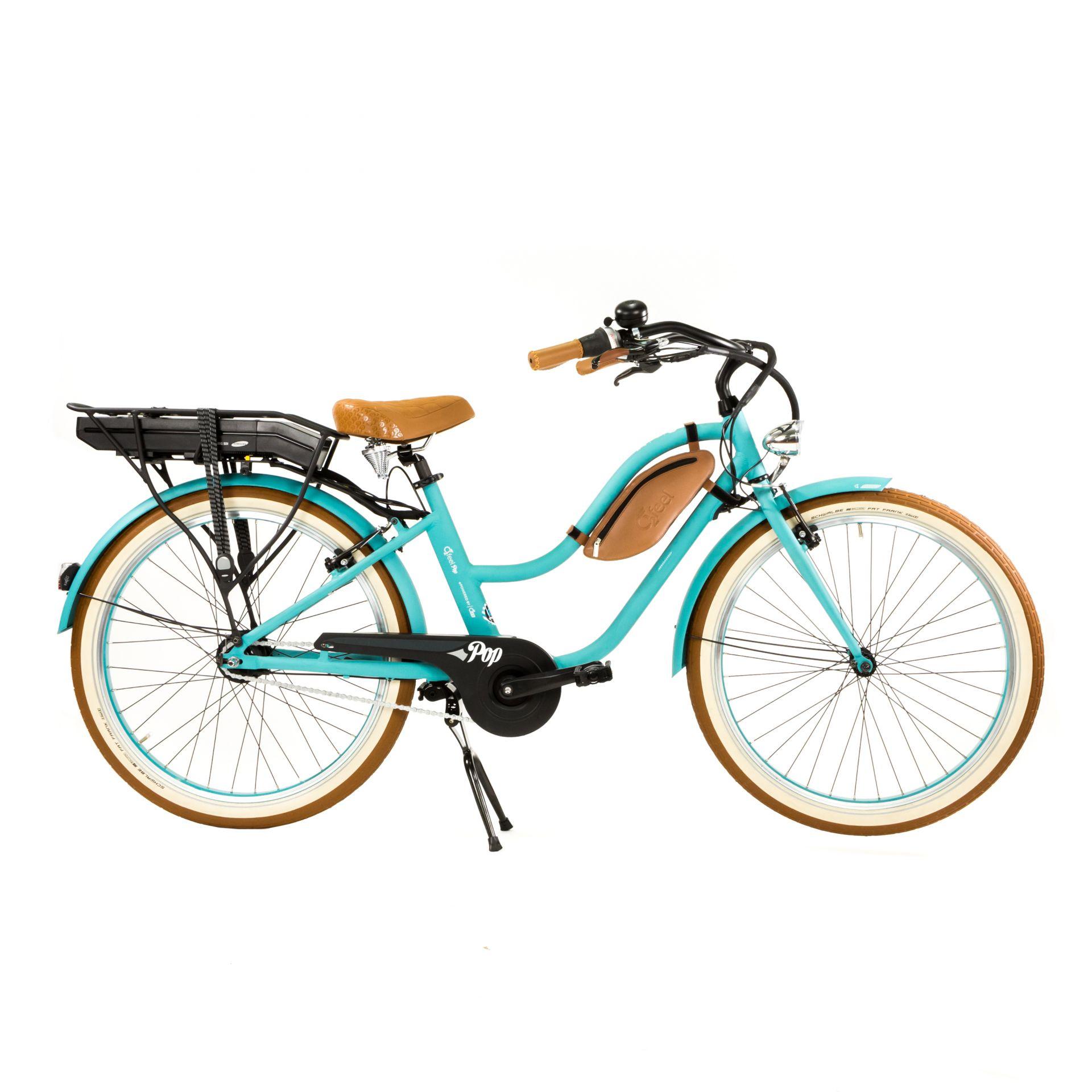 Vélo Cruiser électrique O2Feel Pop Femme N7C 374 Wh Vert océan