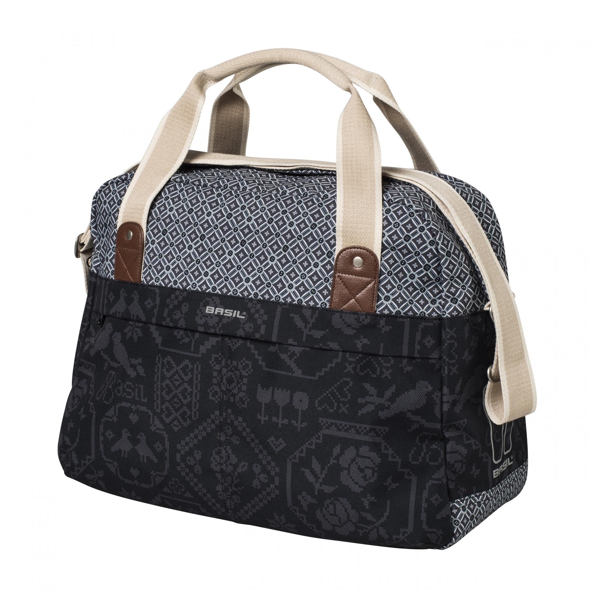 Sac BASIL Boheme Fix. rapide Hook-On sur porte-bagages avant-arrière 18 L Noir/Crème
