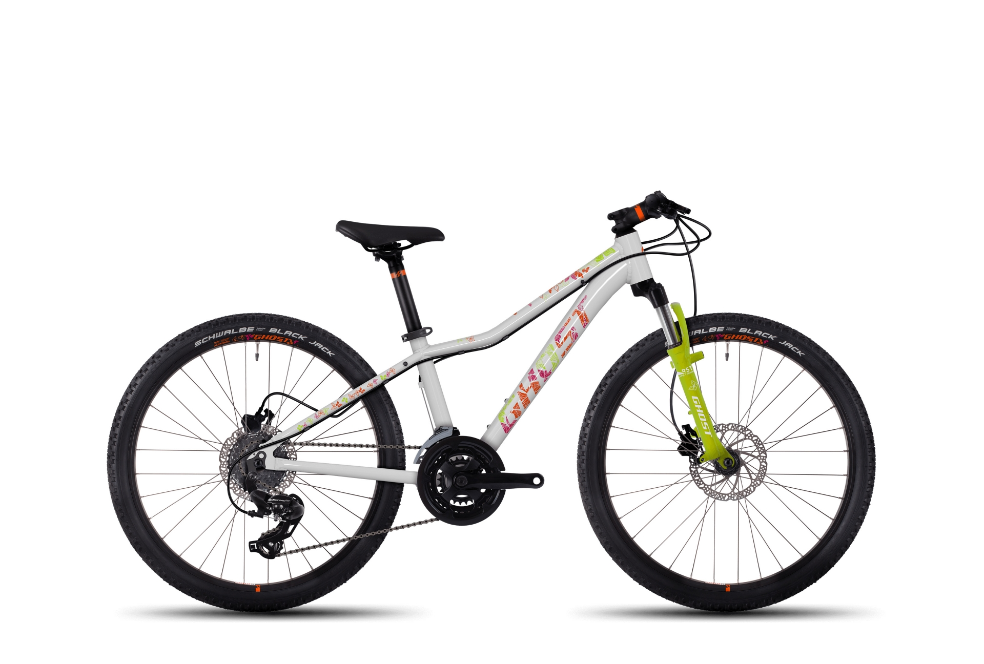 VTT junior Ghost Lanao 4 AL 24 Blanc/Orange/Vert