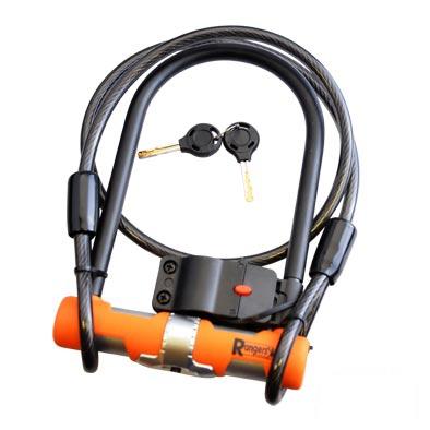 Antivol U Rangers 115 x 190 mm + Câble à boucles 10 mm x 1,20 m Noir/Orange (avec support)